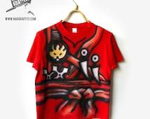 NINJA T-Shirt | Warrior T-SHIRT | Ninja Costume | Adventure | Hand Painted, Airbrushed, Custom NAMED, best gift | sword, ninja kimono, red