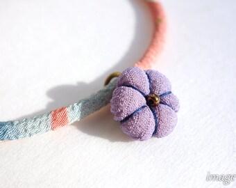Kimono Charm for Kimono Bracelets, Japanese silk fabric, a Japanese silk kimono Ume blossom charm,Navy thread, Christmas ornament decor plm