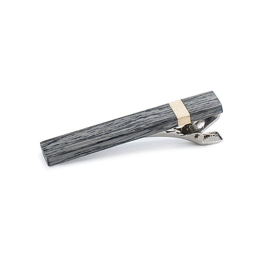 Wooden Tie Clip Grey Oak / Wooden Tie Bar / Personalized