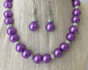 Purple Pearl Necklace, Purple Wedding Jewelry Set, Chunky Pearl Necklace, Bridesmaid Jewelry Gift, Purple Beaded Jewelry, Bridal Jewelry