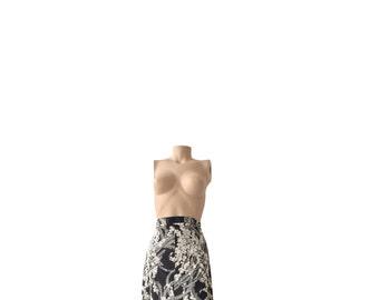 Floral 70s Vintage A-Line Skirt Size L A R G E