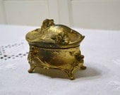 Vintage Art Nouveau Jewelry Box Gold Metal Footed Trinket Box PanchosPorch