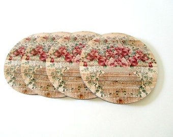 Floral Coaster Set - Rustic Home Decor - Pink Roses - Cottage Chic Drink Coasters - Floral Coasters - Shabby Cottage Decor- Gift for Mom