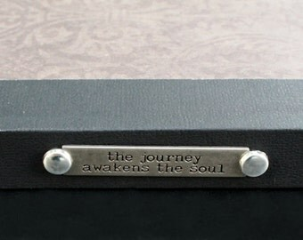 Hardback Handcrafted Journal with Stamped Metal Quote, unlined pages, 5.5 x 8.5