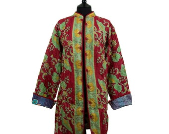 KANTHA JACKET - X Large - Long style - Size 16/18 - Red and green. Reverse multicoloured.