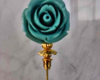 Lapel Pin 3 inch corsage pin with turquoise flower with gold findings and stick