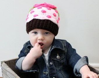 Cupcake Hat - Pre made - Hand Crocheted with 100% cotton yarn - 0-6 m & 6-12 m sizes