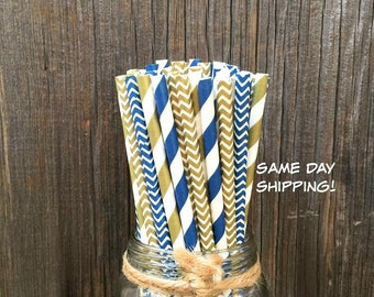 100 Navy and Gold Stripe, Chevron Paper Straws - Party Supply, Wedding , Bridal Shower, Free Shipping!