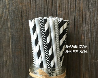 Black Stripe Straws, 100 Silver Chevron Straws, Birthday Straws, Wedding Supply, Paper Straws, Free Shipping