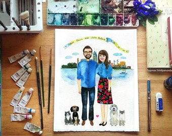 custom portrait with the city , Custom Watercolor Portrait, Couple Illustration, Family Portrait, Custom Portrait illustration Couple Gift
