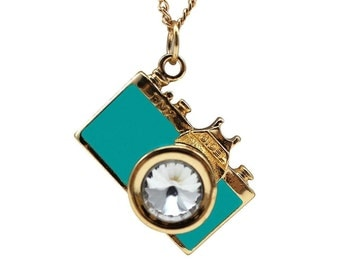 Gold and Turquoise Camera Necklace - Photography necklace
