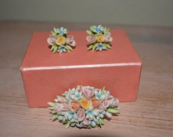 Floral Brooch and Earring Set Vintage Ceramic 1950's