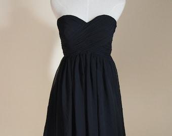 Black Sweetheart Bridesmaid Dress Knee-length Black Chiffon Strapless Bridesmaid Dress-Custom Dress
