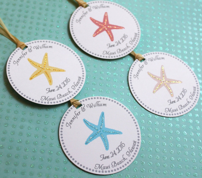Wedding Favor Tags Beach : Beach Wedding Gift Tags Starfish with Natural Raffia or White