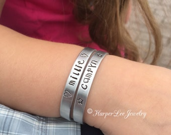 Child Size Hand Stamped Aluminum- Choose your size - Cuff Bracelet - Personalized - Custom - ID bracelet - Name Jewelry - Kid's bracelet