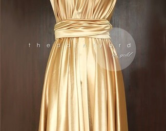 Gold Infinity Dress Convertible Dress Bridesmaid Dress Multiway Dress Wrap Dress Wedding Dress Maid of Honor Cocktail Dress Evening Dress