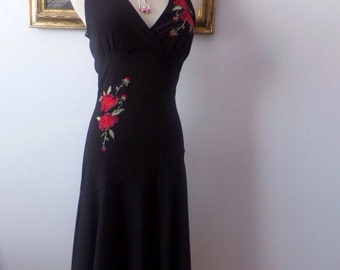 Vintage Embroidered Halter Dress Handkerchief Hem