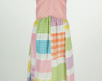 Vintage Patchwork Maxi Halter Dress Size 8 / S