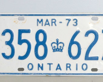 March 1973 Ontario, Canada Licence Plate