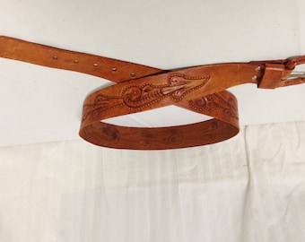 Tooled Leather Belt,leather,belt, Buckle, 38""