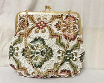 Free Ship Beaded Walborg Purse Tapestry Handbag