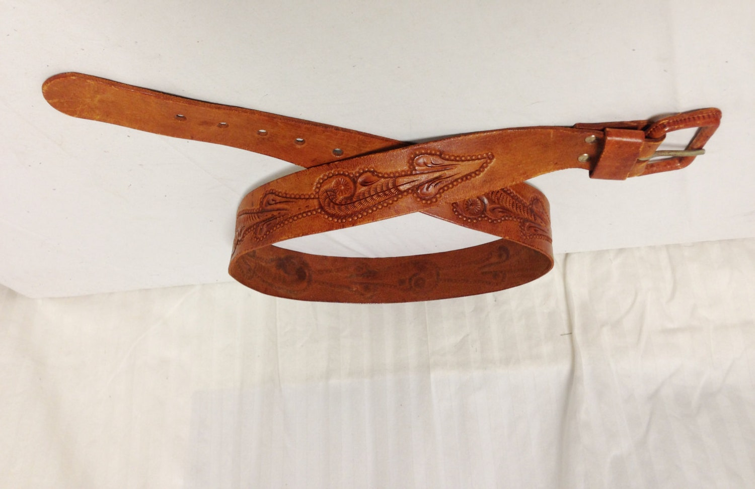free ship large tooled leather belt w buckle by