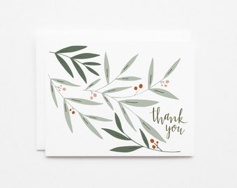 Floral Thank You Card Set of 8 | Hand Lettered Illustrated Floral Stationery : Field Thank You Card