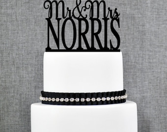 Mr and Mrs Cake Topper, Personalized Last Name Wedding Cake Topper, Custom Wedding Topper, Elegant Wedding Topper, Unique Cake Topper (T176)