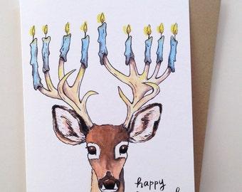 SALE Happy Hanukkah Menorah Deer Antler Holiday Card