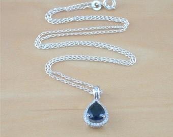 "925 Sapphire (Lab Created)Pendant & 18"" Chain/Sapphire Jewellery/Sapphire Jewelry/Sapphire Necklace/Gemstone Jewelry/September Birthstone"
