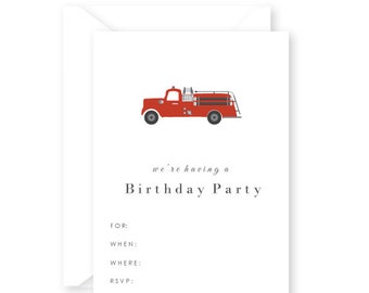 Blank Fire Truck Birthday Party Invitations