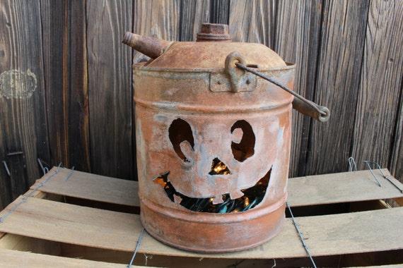 Vintage Gas Can Pumpkin Jack O Lantern Lightgiftfallrustic