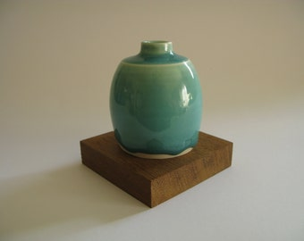 Porcelain Bottle with Runny Turquoise Glaze