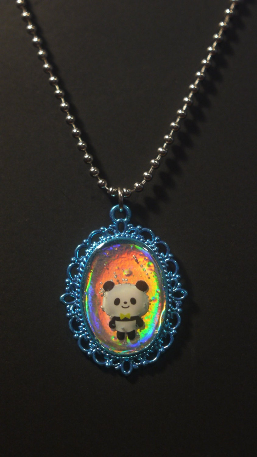 hologram panda blue pendant necklace by ryleesierracreations