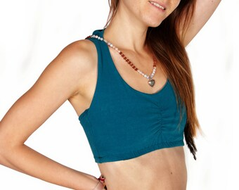 Organic Cotton Bra, Active Wear, Bustier Top, Blue Yoga Top, Gym Bra, Yoga Bra, Sports Bra, Organic Clothing, Organic Bra, Pixie Top