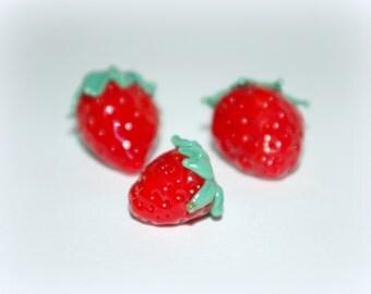 3p Red strawberries  beads,  glass beads set, lampwork bead set, Wild berries set, lampwork berries, Home Decor, lampwork glass bead, SRA