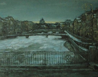 In December - St. Petersburg's landscape - original oil painting on canvas