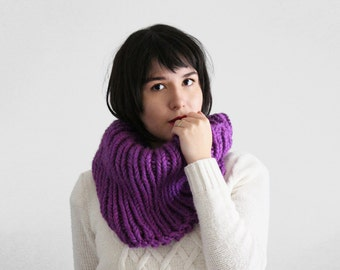 Knit Infinity Cowl Scarf - Chunky Knitted Circle Scarf- Neck Warmer  in Orchid | The Cassini Cowl |