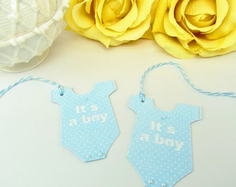 10 Baby Tags...Gift Tags, Boy Baby Shower Tags, It's a Boy Bag Tags, Baby Boy Thank you Tags, Blue Baby Shower, Blue Baby Bodysuit Tags