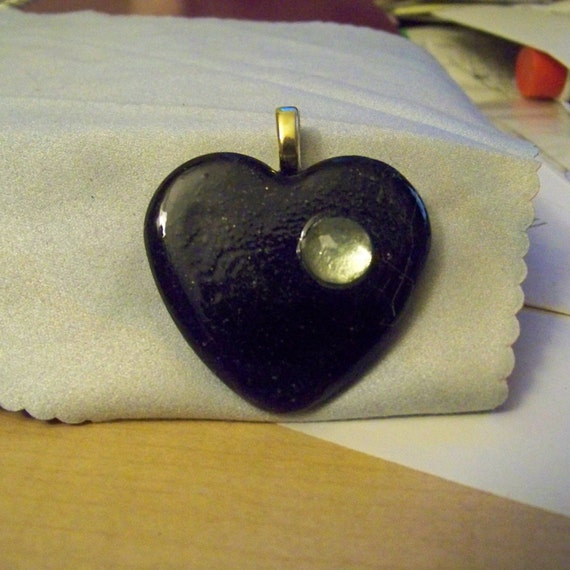 Pendant - Heart Black with Rhinestone