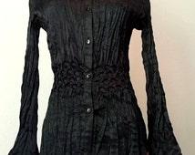 Black Satin Button up shirt ~ Black 70's boho style blouse ~ Black Satin Witchy Goth blouse ~ small satin long sleeve blouse