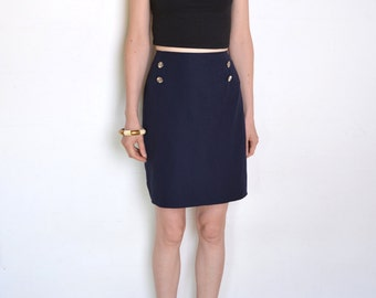 90's faux suede navy blue pencil skirt, navy sailor skirt, pin up skirt, nautical uniform skirt