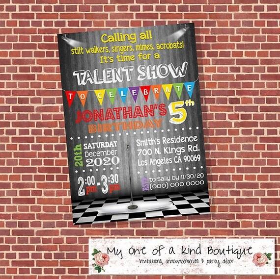Talent Show Invitation Birthday Party Bash Invite Digital