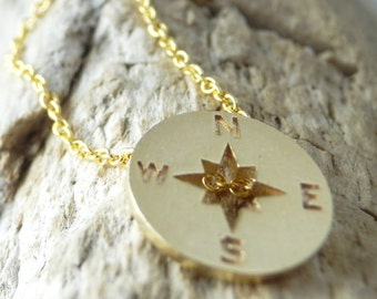 Compass Rose Necklace. Dainty Gold Plated 18k Necklace. Simple Necklace. Minimalist Jewelry. Elegant Necklace.Delicate