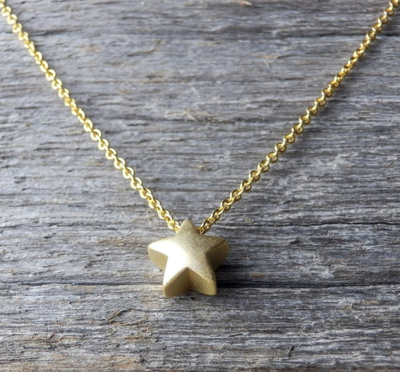 Small gold star necklace tiny plated chain dainty matte