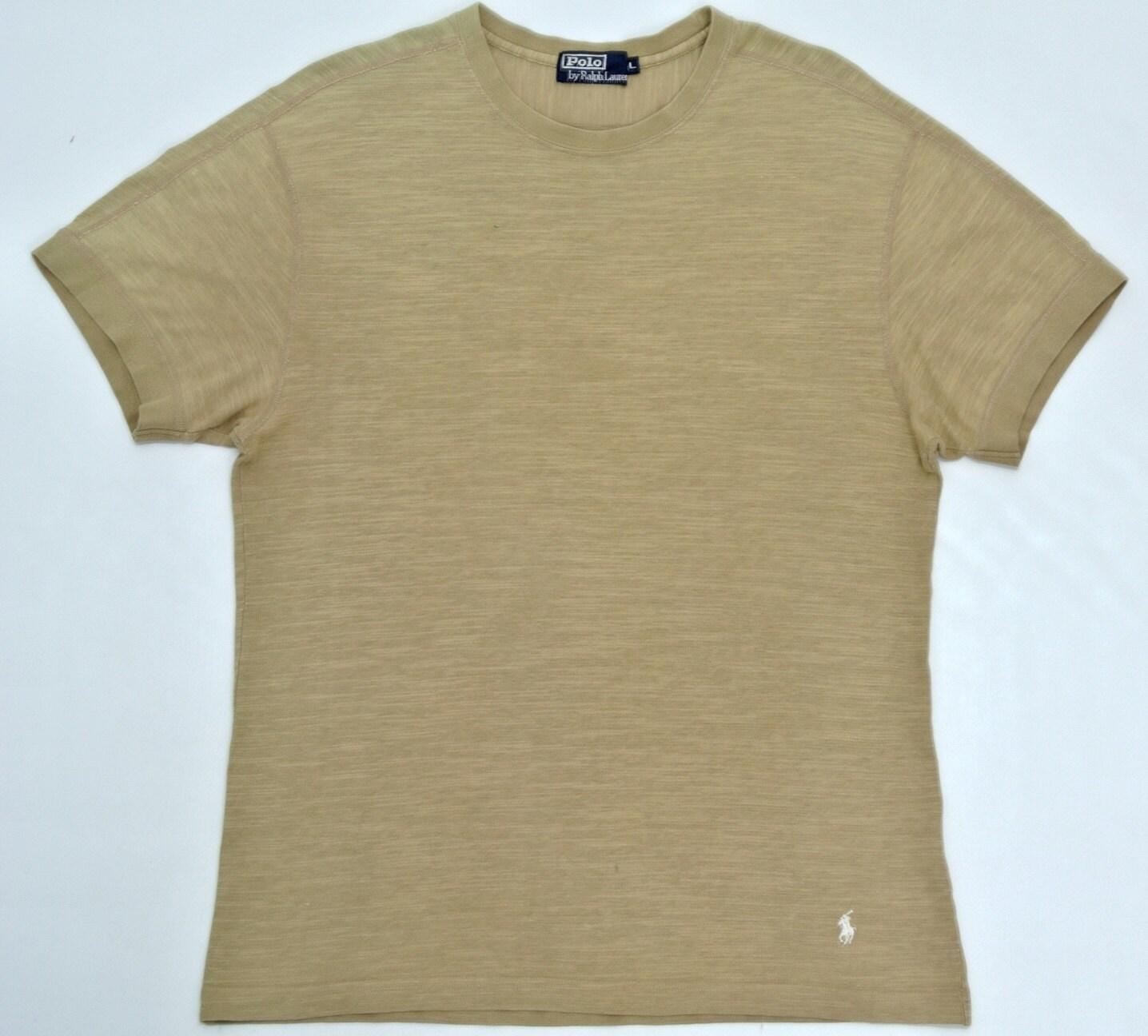 Polo ralph lauren shirt mens large polo plain t ralph lauren for Light brown polo shirt
