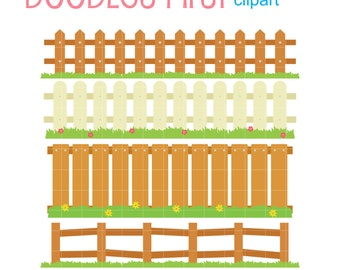 Fence Set Digital Clip Art for Scrapbooking Card Making Cupcake Toppers Paper Crafts