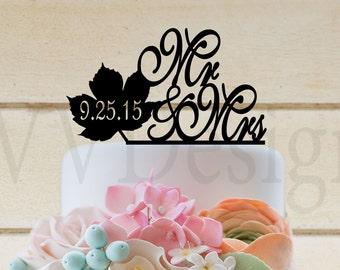 """Wedding Acrylic Cake Topper 6"""" wide Maple Leaf Fall Wedding"""