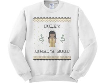 Miley What's Good Crewneck Sweater; Miley Cyrus; Nicki Minaj; VMA Shirt