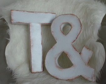 "8"", 12"", or 16"" Shabby Chic White Distressed Paper Mache Letters"